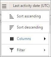 Screenshot of menu options for Yammer reports