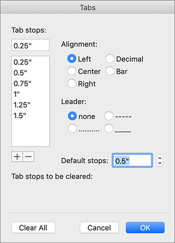 Mac tab's dialog box