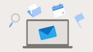Illustration of mail, files, and flags