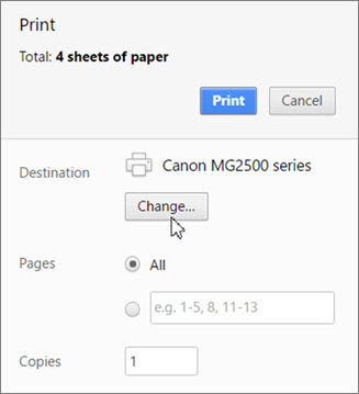 Click Change to choose a printer