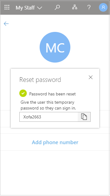 Copy the temporary user password after a reset in My Staff