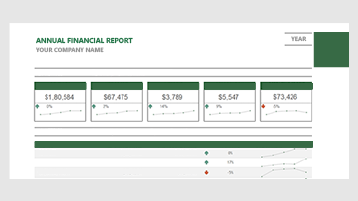 A financial report template in Excel