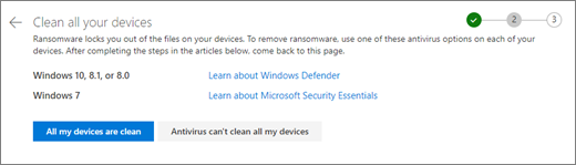 Screenshot of the Clean all your devices screen on the OneDrive website