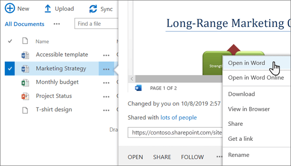The Open > Open in app menu option selected for a Word file in the Classic view of the OneDrive online portal