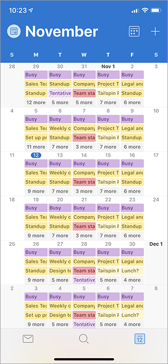 Month view in Calendar