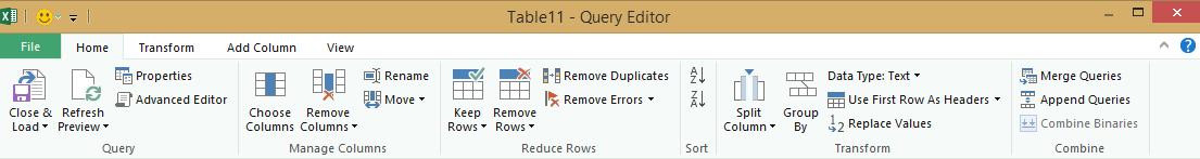 Query Editor ribbon