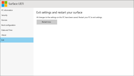 The exit screen for Surface UEFI