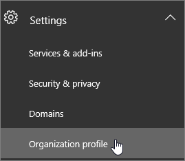 Choose Settings and then choose Organization profile.