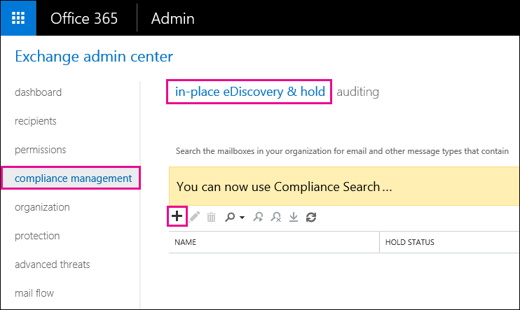 In the EAC, on the Compliance management page, click In-Place eDiscovery and Hold