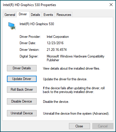Go to the driver tab to update or rollback a device driver