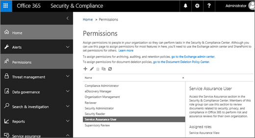 Screenshot of the Security & Compliance Center Permissions page with Service Assurance User selected.