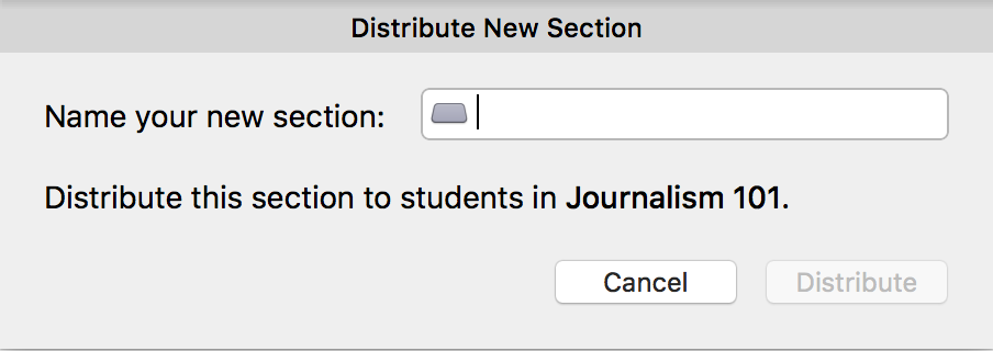 Distribute New Section dialog box