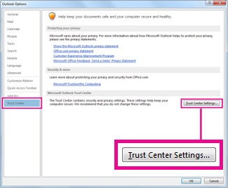 Trust Center in Outlook Options