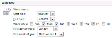 Work time section in Outlook Options dialog box