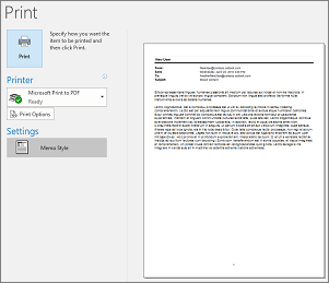 Print preview of Outlook email message