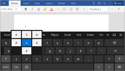 Insert symbols and special characters in Word on a mobile