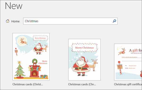 Shows Christmas templates for Word 2016