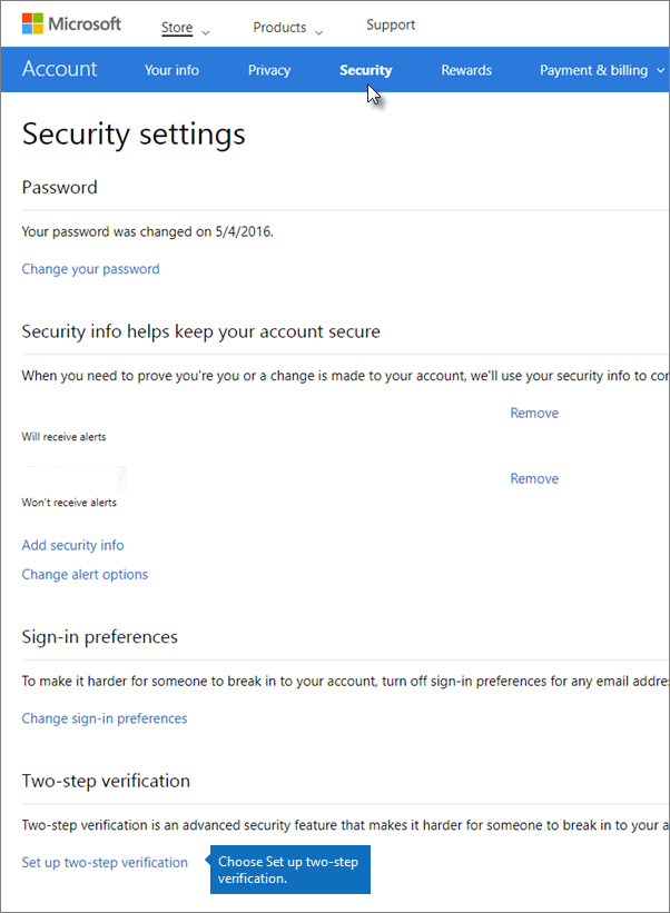 On the Security settings page, choose Set up two-step verification.