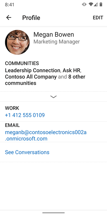 Screenshot showing setting up a profile on the new Yammer Android app