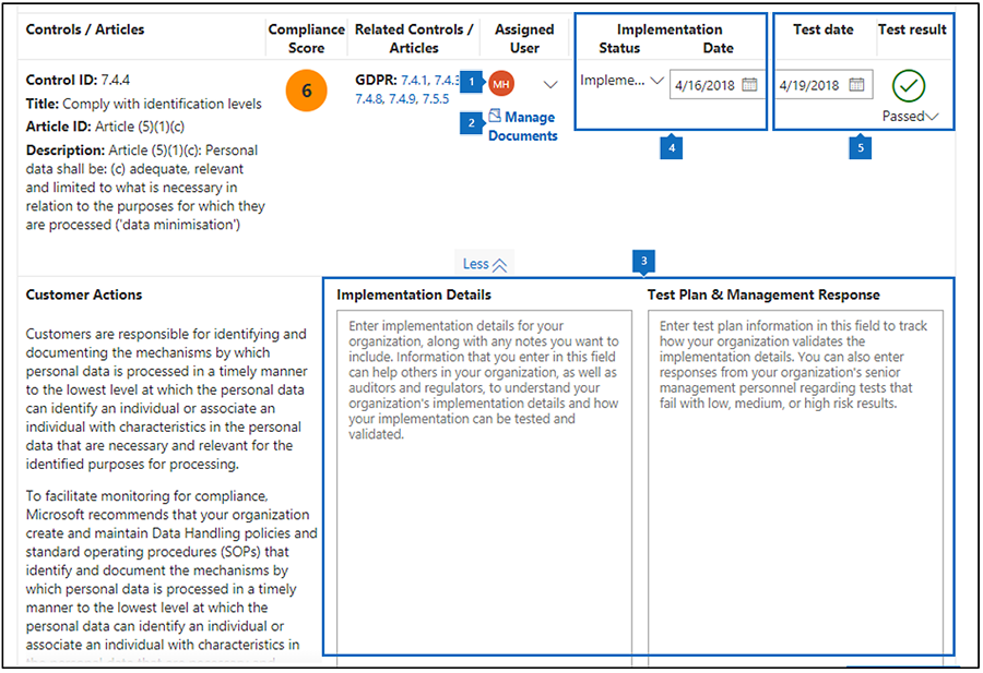 Compliance manager assessment workflow with callouts