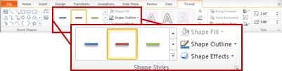 The Format tab under Drawing Tools in PowerPoint 2010.