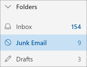 A screenshot shows the Junk Email folder selected in the Folders list.