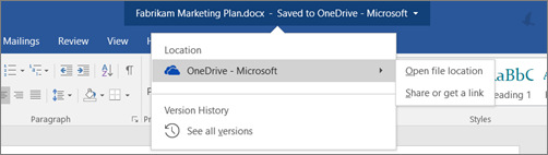 Click the arrow for other OneDrive options