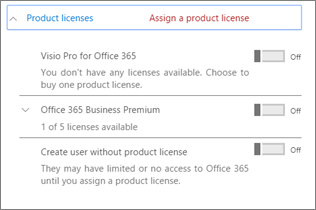 Product licences section with only Office 365 Business Premium