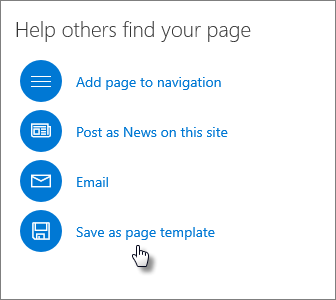 Promote panel showing Save as page template