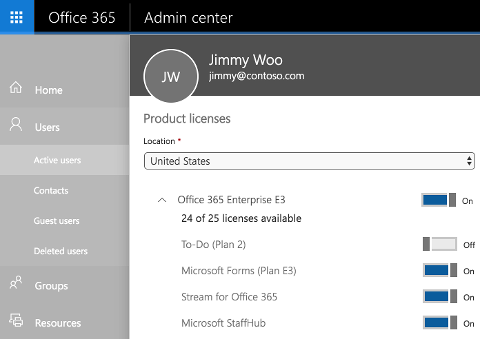 A screenshot shows the Product licenses page of the Office 365 Admin center with the toggle control switched to Off for To-Do (Plan 2).