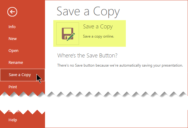 The Save A Copy command saves the file online on OneDrive for Business or SharePoint