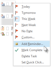 Add Reminder command on the right-click menu of a flag in Tasks