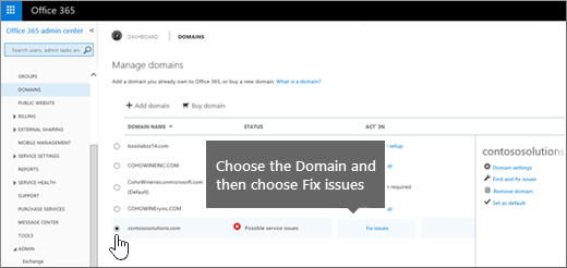 Choose your domain and choose Fix issues