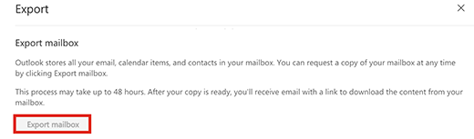 Screenshot showing the option to Export mailbox
