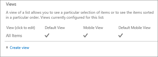 List view section in List settings