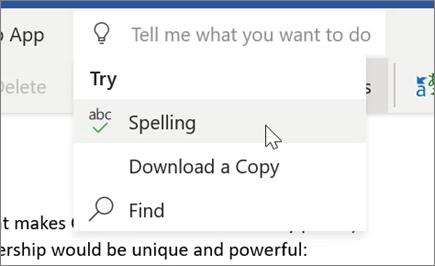 Tell Me in Word Online