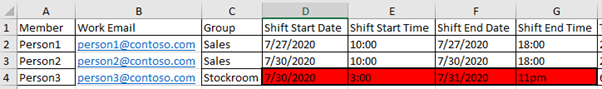 Error in red on Shifts sheet