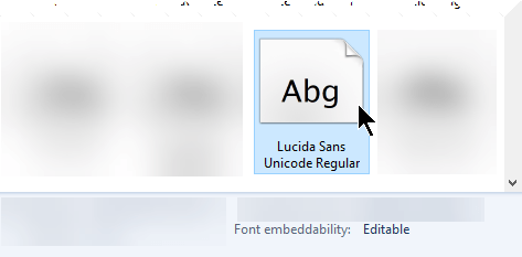 When you look up a font in Control Panel, you can see whether the font can be embedded.