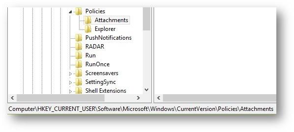 Registry Editor - Attachments subkey