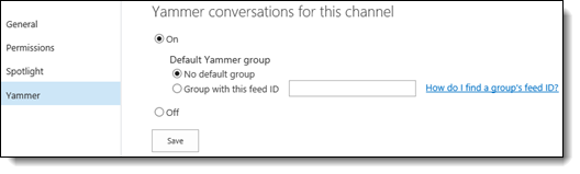 O365 Video Yammer Settings