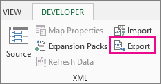 Export on the Developer tab