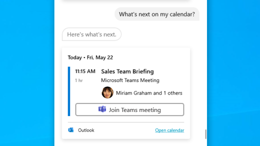 Get info from your calendar with Cortana in Windows