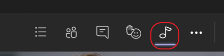 A screenshot of the meeting controls at the top of a Microsoft Teams meeting. The music note icon is circled in red to highlight the button that turns on high fidelity music mode