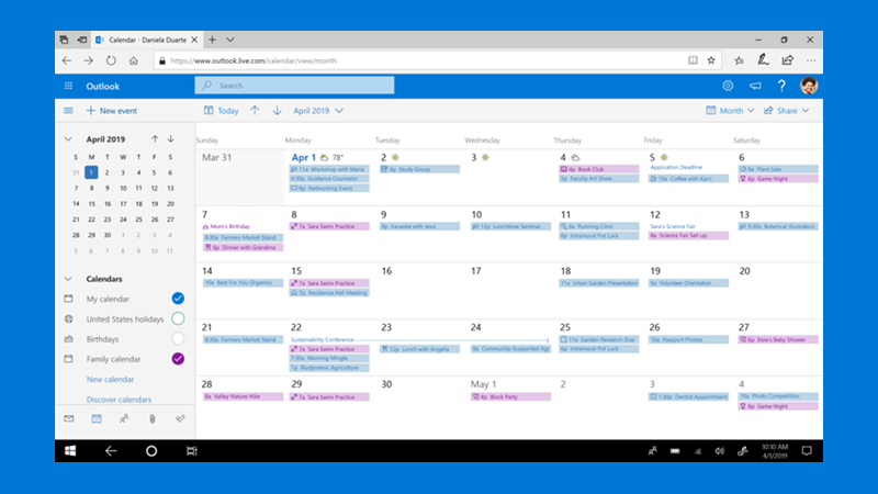 Use Outlook's new calendar features to stay up to date.