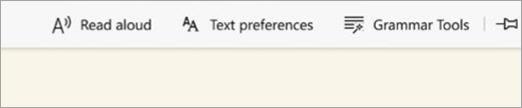 Edge Immersive Reader Options