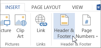 Header & Footer button