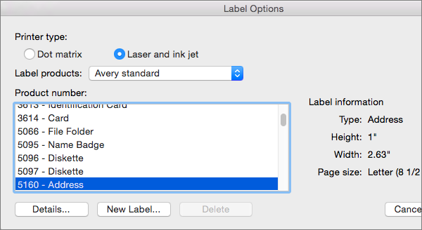 Select a brand of label products, and then select the specific product number.
