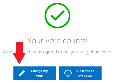 Voting confirmation page