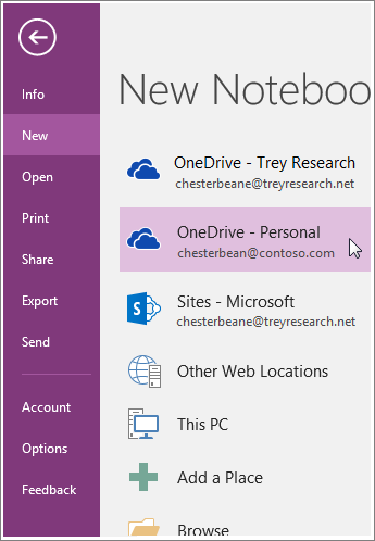 Screenshot of how to create a new OneNote notebook.