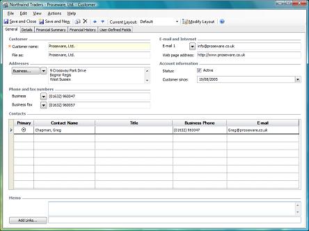 general tab on customer form